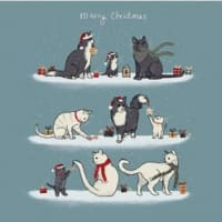 Christmas Cats 10 cards with envelopes